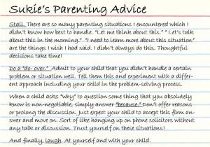 Sukies Parenting Advice